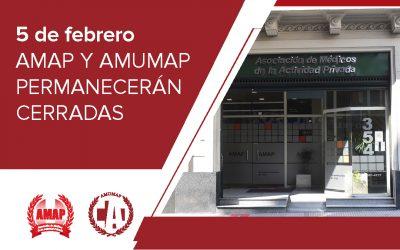 El 5 de Febrero la AMUMAP permanecerá cerrada